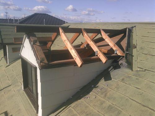 雨漏りする天窓(トップライト)を撤去して金属屋根に改修 名古屋市緑区