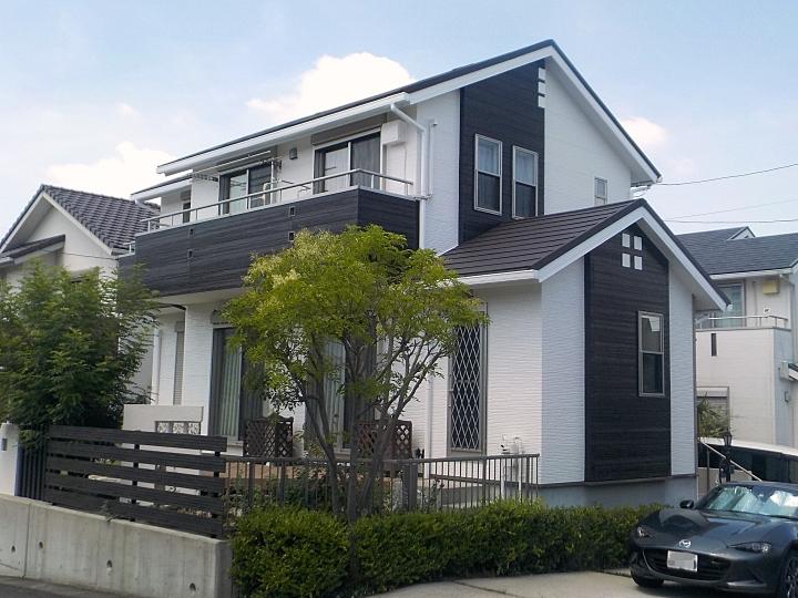 名古屋市緑区にてコントラストが美しい素敵な仕上がり!屋根カバー工法と外壁塗装