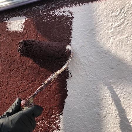 屋根、外壁塗装のアクセントカラーのワインレッドがおしゃれな仕上がり 名古屋市緑区