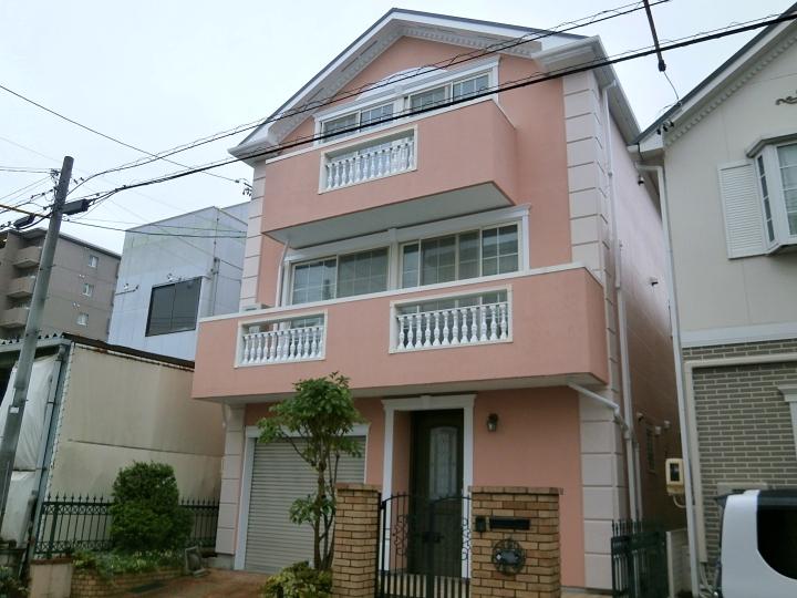 サーモンピンクの美しい仕上がり!ジョリパット、ALC種類が違う外壁と屋根塗装 名古屋市守山