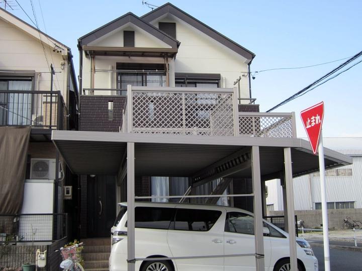 ブラウン×ホワイトに色変更したモダンな屋根外壁塗装 名古屋市南区