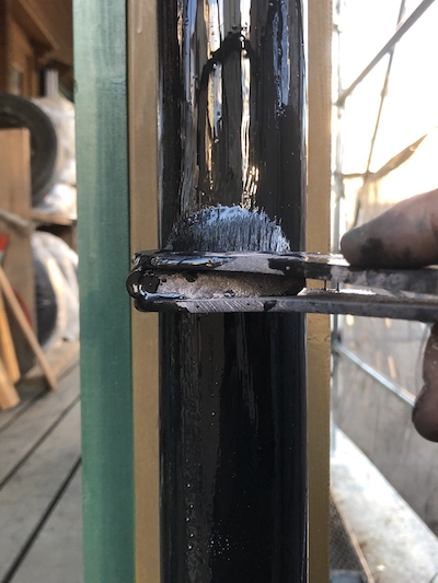 ログハウス屋根をグリーンに塗り替え、破風板の板金カバー工事 名古屋市緑区